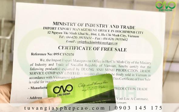 Chứng nhận Certificate of free sale rượu ngô xuất khẩu