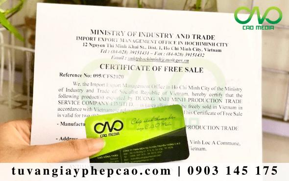 Xin giấy phép lưu hành tự do CFS tinh dầu trầm hương