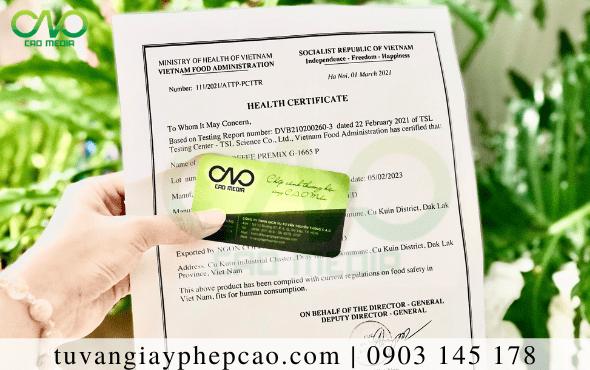 Xin giấy chứng nhận health certificate rượu xuất khẩu nước ngoài